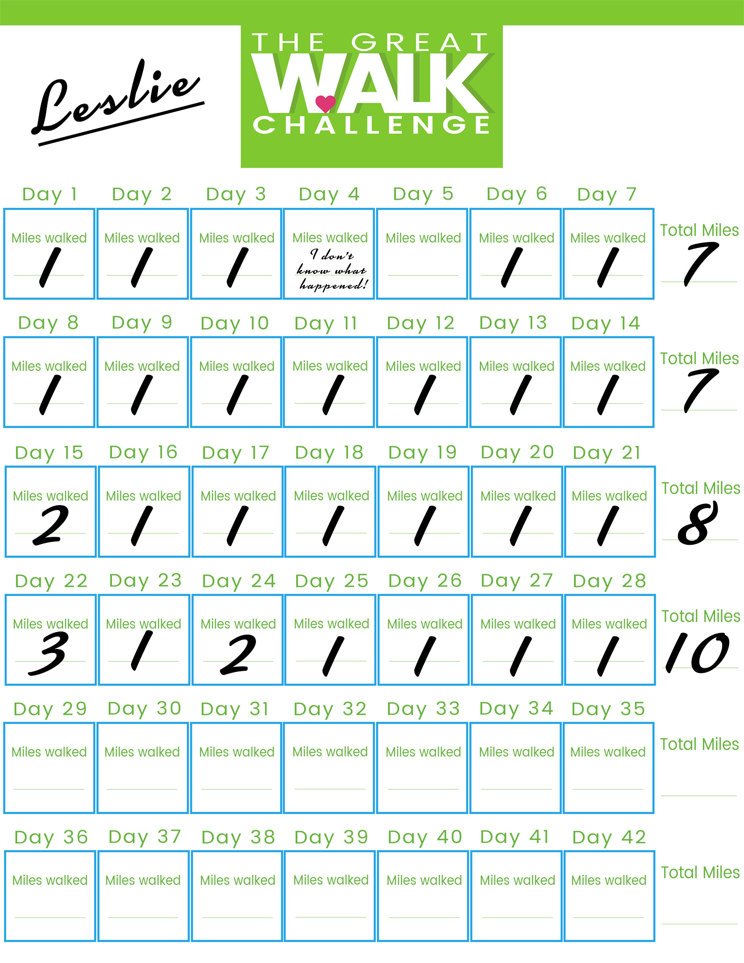 Sample Calendar - The Great Walk Challenge